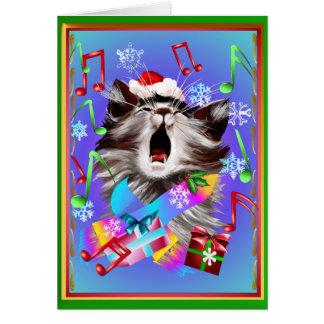 Gatito del canto del villancico del navidad tarjeta de felicitación