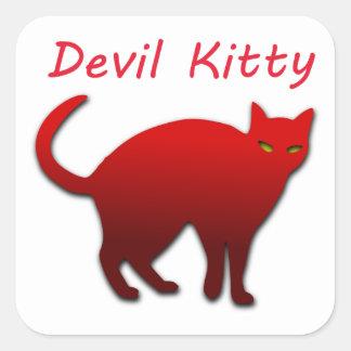 Gatito del diablo pegatina cuadrada