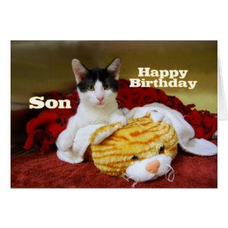 Gatito del feliz cumpleaños del hijo con el tigre tarjeta de felicitación