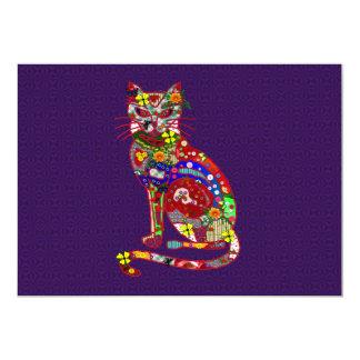Gatito del remiendo invitación 12,7 x 17,8 cm