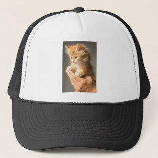 Gatito dulce en buena mano gorra de camionero