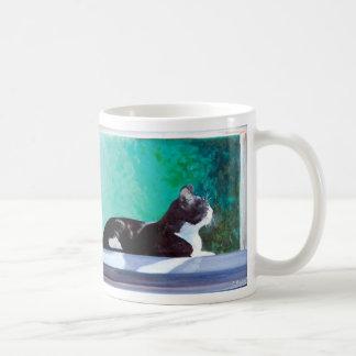 Gatito en la ventana de la pintura de aceite taza de café
