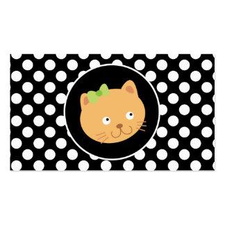 Gatito en lunares blancos y negros tarjetas personales