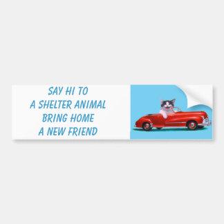 Gatito en un convertible rojo pegatina de parachoque