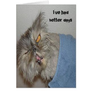 Gatito enfermo tarjeta de felicitación