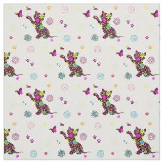 gatito floral telas