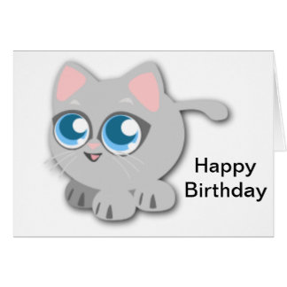Gatito gris gordo lindo tarjeta de felicitación
