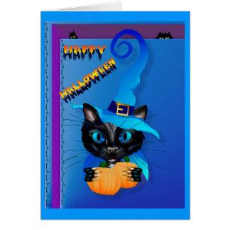 Gatito Halloween-Azul feliz de la bruja Tarjetón