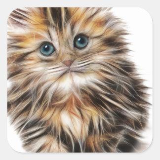 Gatito ilustrado lindo pegatina cuadrada