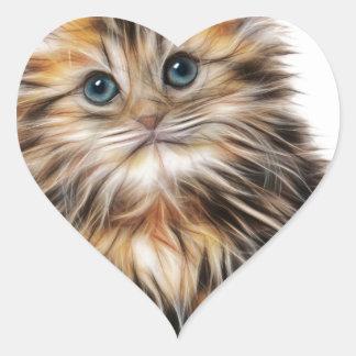 Gatito ilustrado lindo pegatina en forma de corazón