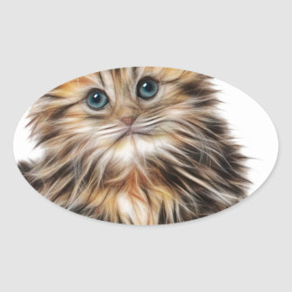 Gatito ilustrado lindo pegatina ovalada