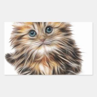 Gatito ilustrado lindo pegatina rectangular