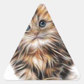 Gatito ilustrado lindo pegatina triangular