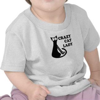 Gatito impresionante loco de señora Funny Geek Camiseta