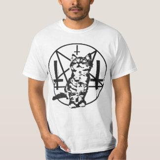 Gatito invertido de la cruz y del pentáculo camisetas