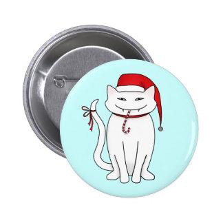Gatito malvado del navidad blanco pin