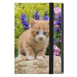 Gatito mullido lindo del gato del jengibre en foto funda para iPad mini
