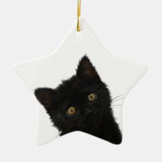 Gatito negro de Luna Bella Adorno De Cerámica En Forma De Estrella