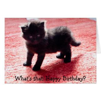 Gatito negro lindo - tarjeta de cumpleaños