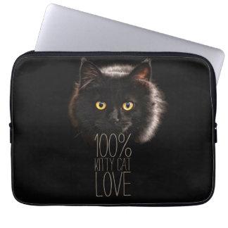 Gatito negro tipográfico del amante del gato funda para ordenador