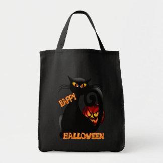 Gatito negro y bolsos malvados de la calabaza de H Bolsa Tela Para La Compra