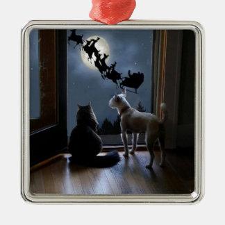 Gatito, perro y ornamento del navidad de Santa