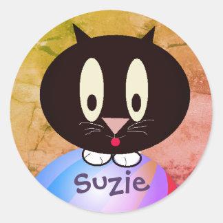Gatito personalizado pegatina redonda