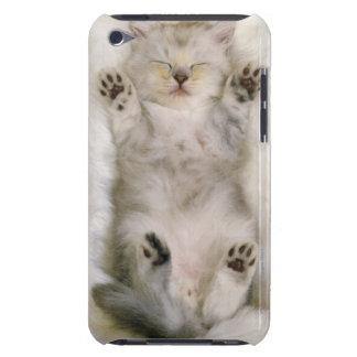 Gatito que duerme en una alfombra mullida blanca, carcasa para iPod