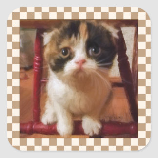 Gatito raro pegatina cuadrada