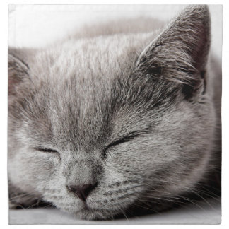 Gatito soñoliento servilleta de tela