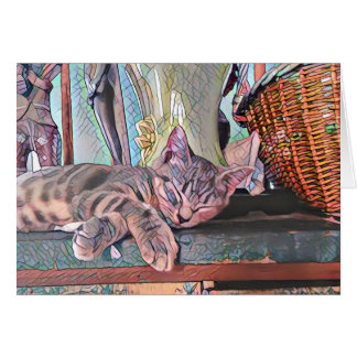 Gatito soñoliento tarjeta de felicitación