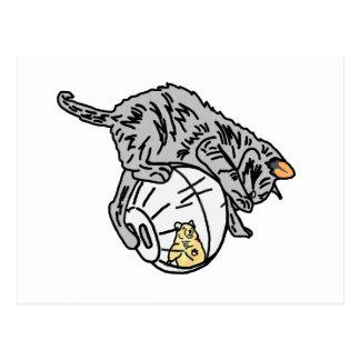 Gatito y hámster postal