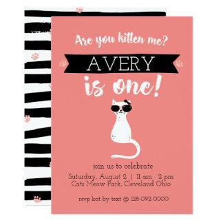 Gatito yo primera invitación del cumpleaños