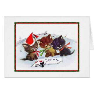 Gatitos con el ratón del maestro tarjeta de felicitación
