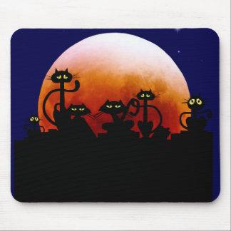 Gatitos de Halloween y luna Mousepad de Halloween Alfombrilla De Ratón