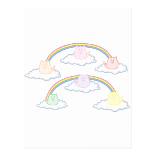 Gatitos del arco iris en las nubes postal
