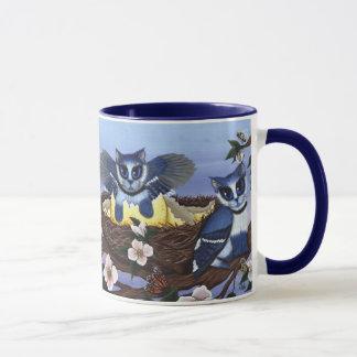 Gatitos del arrendajo azul, taza del arte de la