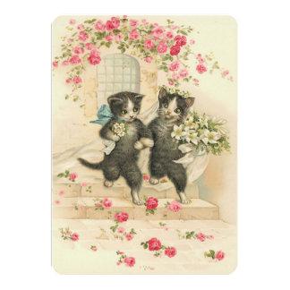 Gatitos del boda del vintage invitación 12,7 x 17,8 cm