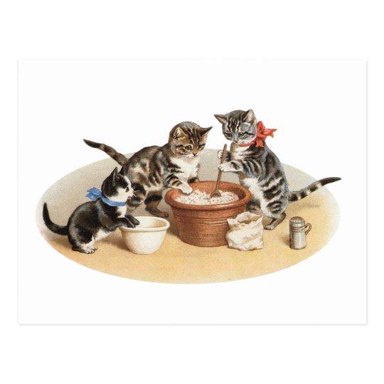 Gatitos en la cocina postal