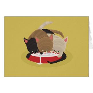 Gatitos hambrientos tarjeta de felicitación
