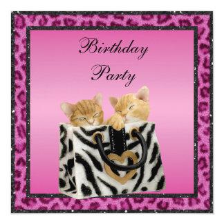 Gatitos y fiesta de cumpleaños rosada de la piel invitación 13,3 cm x 13,3cm