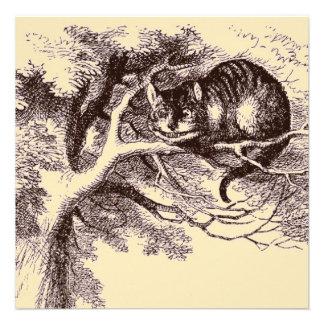 Gato Alicia de Cheshire del vintage de la sepia en Comunicado Personal