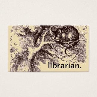 Gato Alicia del bibliotecario el   Cheshire en el Tarjeta De Visita