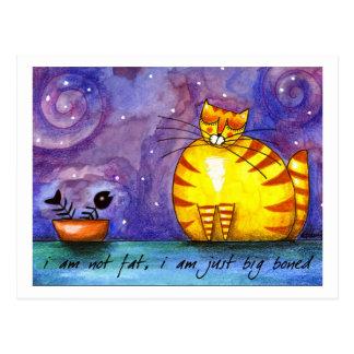 Gato amarillo gordo grande - postal