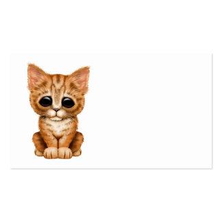 Gato anaranjado lindo triste del gatito del Tabby Tarjeta De Visita
