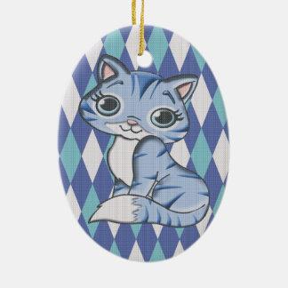 Gato azul del gatito de Argyle Adorno Navideño Ovalado De Cerámica