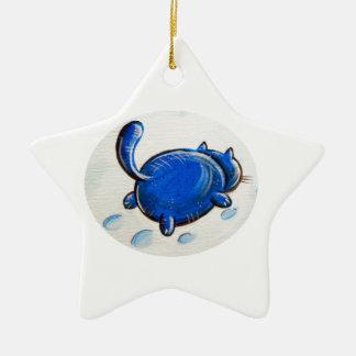 Gato azul en la nieve ornamento para arbol de navidad