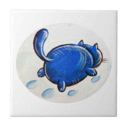 Gato azul en la nieve tejas  cerámicas