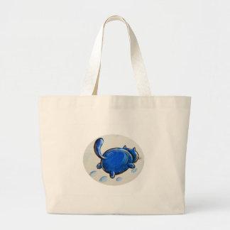 Gato azul en la nieve bolsas