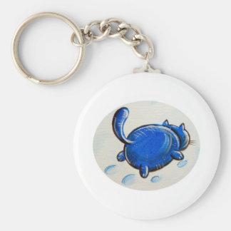 Gato azul en la nieve llavero personalizado